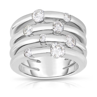 Eloquence 14k White Gold 1 1/4ct TDW Diamond Multi-Row Diamond Ring (J-K, SI1-SI2)