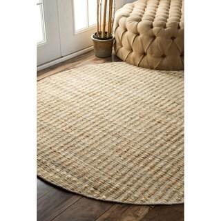 nuLOOM Natural Fiber Solid Handmade Jute/ Cotton Rug (6' Round)