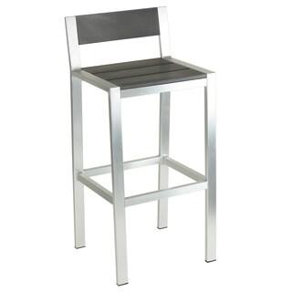 Cortesi Home Haven Brushed Nickel Aluminum Outdoor Bar Stool in Slate Grey Polywood