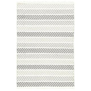 Altair Grey Rectangle Cotton Reversible Area Rug (5' x 7'9)
