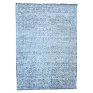 Bamboo Silk Broken Tone On Tone Hand-knotted Rug (9'10 x 13'9)