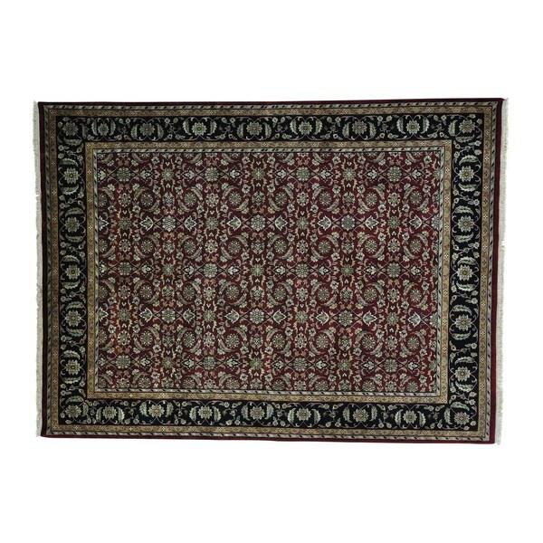 Pure Wool All Over Handmade Burgundy Kashan Rug (8'8 x 11'8)
