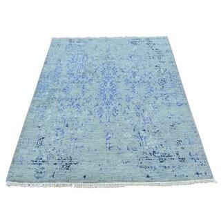 Wool and Bamboo Silk Broken Handmade Rug (3'1 x 5'2)