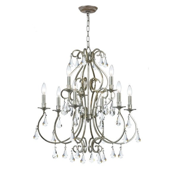 Crystorama Ashton Collection 9-light Olde Silver Chandelier 17296624