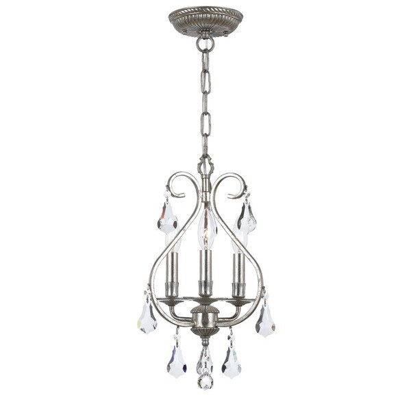 Crystorama Ashton Collection 3-light Olde Silver Mini Chandelier 17296641