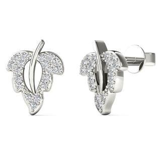 10k White Gold 1/10ct TDW Diamond Open Leaf Stud Earrings (H-I, I1-I2)