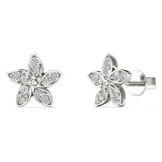 10k White Gold Diamond Accent Flower Stud Earrings (H-I, I1-I2)