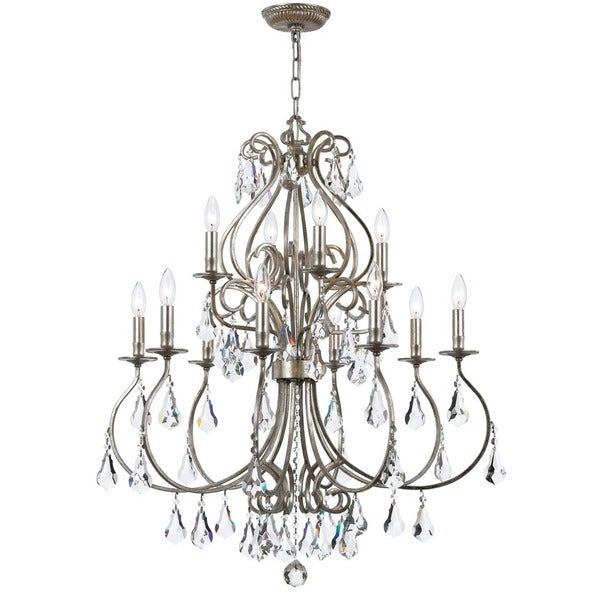 Crystorama Ashton Collection 12-light Olde Silver Chandelier 17296650