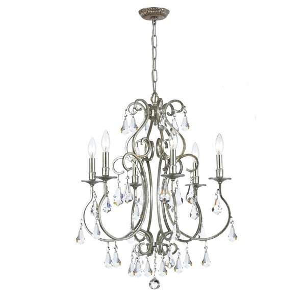 Crystorama Ashton Collection 6-light Olde Silver Chandelier 17296651