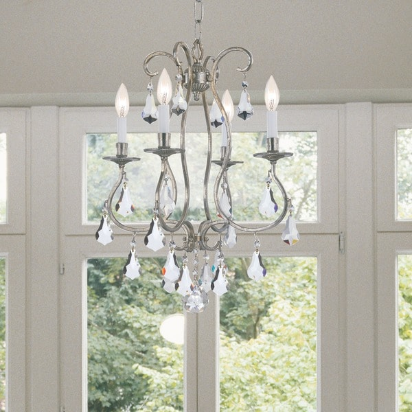 Crystorama Ashton Collection 4-light Olde Silver Mini Chandelier 17296652