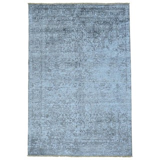 Silver Wash Broken Bamboo Silk Hand-knotted Rug (6' x 8'10)