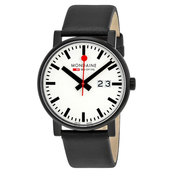 Mondaine Unisex A6273030361SBB 'Evo Big Date' Black Leather Watch