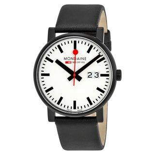 Mondaine Unisex A6273030361SBB 'Evo Big Date' Black Leather Watch