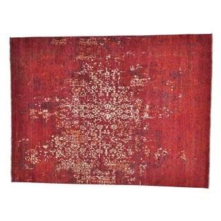 Broken Wool and Bamboo Silk Handmade Rug (9'10 x 13'1)