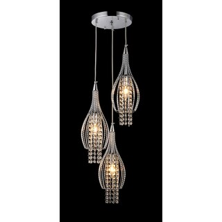 Xuan 3-light Crystal 11-inch Chrome-finish Chandelier