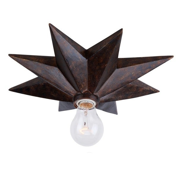 Crystorama Astro Collection 1-light English Bronze Flush Mount