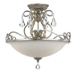 Crystorama Ashton Collection 3-light Olde Silver Flush Mount