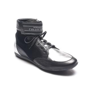 Versace Men's Black/ Silver High Top Sneakers