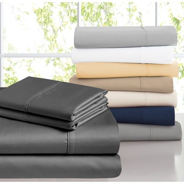 Casa Platino 1200 Thread Count Egyptian Cotton Blend Cal-King Sheet Set in Ivory (As Is Item)