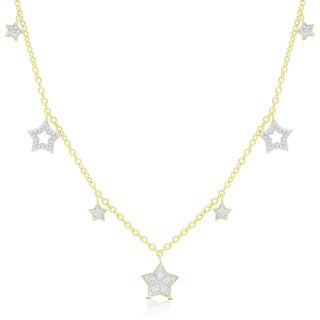 Finesque Gold Over Silver Or Sterling Silver Hanging Stars Necklace