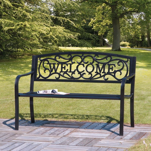 Cast Iron Welcome Garden Bench