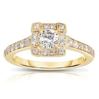 Eloquence 14k Yellow Gold 9/10ct TDW Diamond Halo Engagement Ring (H-I, I1-I2)