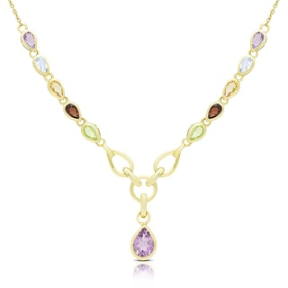 Dolce Giavonna Gold Over Silver Multi Gemstone Teardrop Necklace