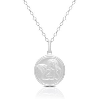 Dolce Giavonna Sterling Silver Angel Design Coin Necklace