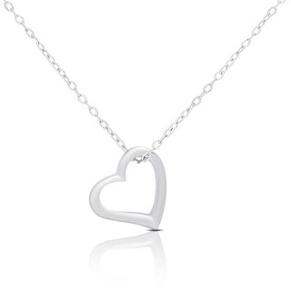 Dolce Giavonna Gold Over Silver Or Sterling Silver Heart Necklace