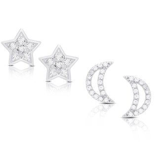 Dolce Giavonna Sterling Silver Cubic Zirconia Moon and Star Earrings Set
