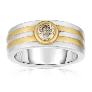 Eloquence 14k Two-Tone Gold 3/4ct TDW Natural Champagne Men's Diamond Band (Brown, SI1-SI2)
