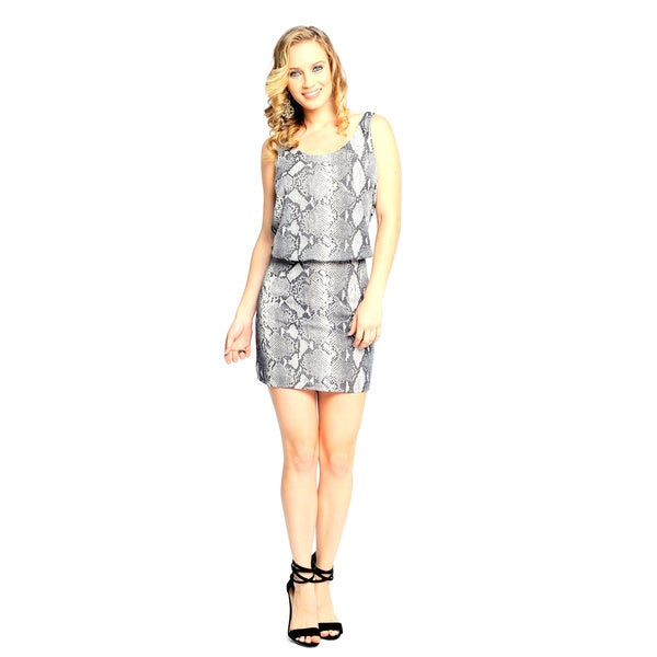 Sara Boo Women's Snake Print Dress with Cut-Out Back Detail