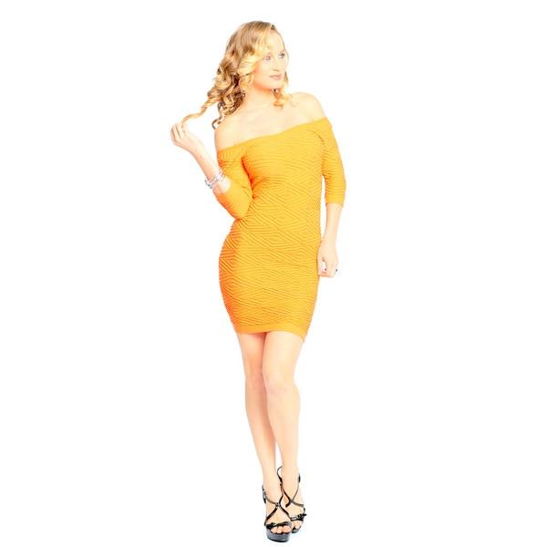 Sara Boo Women's Orange Off-the-Shoulder Bodycon Dress