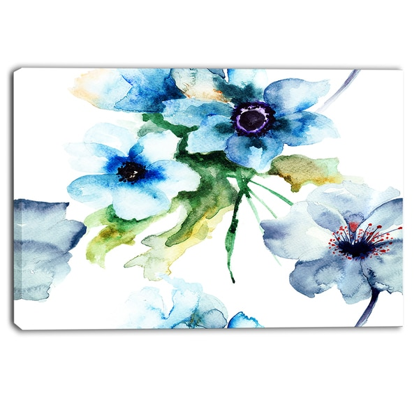 Designart - Seamless Summer Blue Flowers - Floral Canvas Print