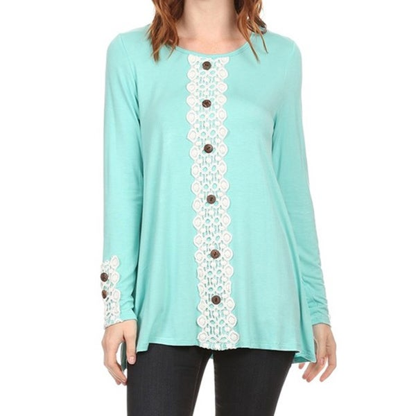 Women's Crochet Panel Button Top