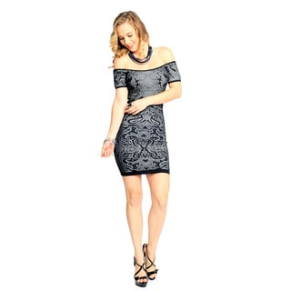 Sara Boo Women's Black Graphic Print Bodycon Dress