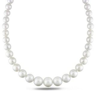 Miadora Signature Collection 14k White Gold Cultured South Sea White Pearl and Diamond Accent Strand Necklace (10-16 mm)