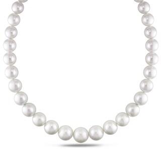 Miadora Signature Collection 14k White Gold Cultured South Sea White Pearl and Diamond Accent Strand Necklace (11-16 mm)