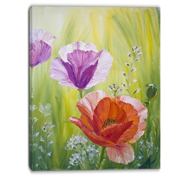 Designart - Poppies in the Morning - Floral Canvas Artwork