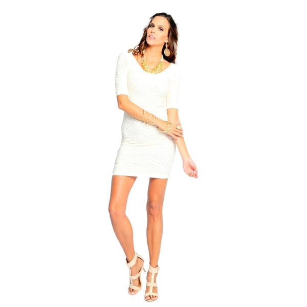 Sara Boo White Textured Bodycon Dress