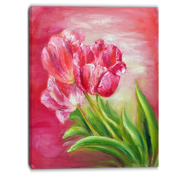 Designart - Red Tulips in Red Background - Floral Canvas Print