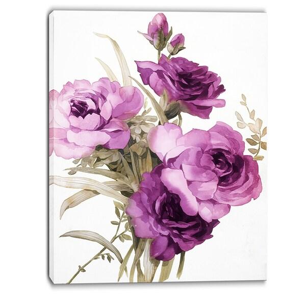 Designart - Bunch of Purple Flowers - Floral Canvas Art Print