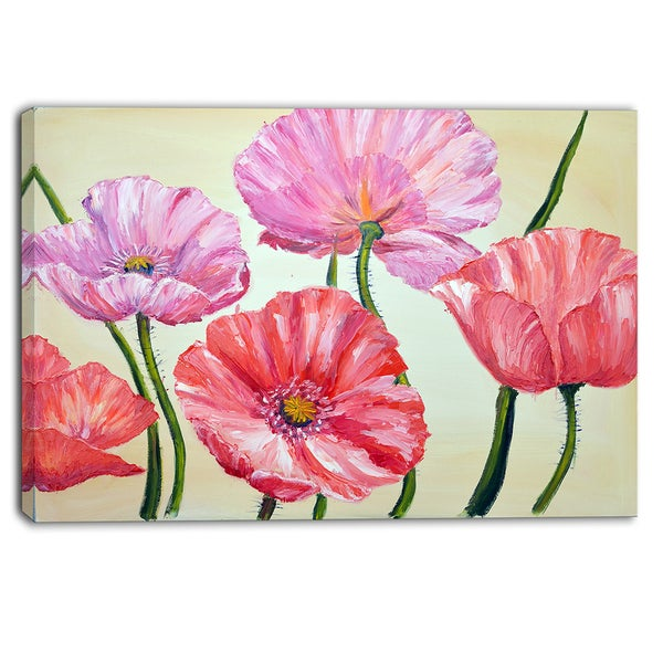 Designart - Red and Pink Poppies - Floral Canvas Artwork