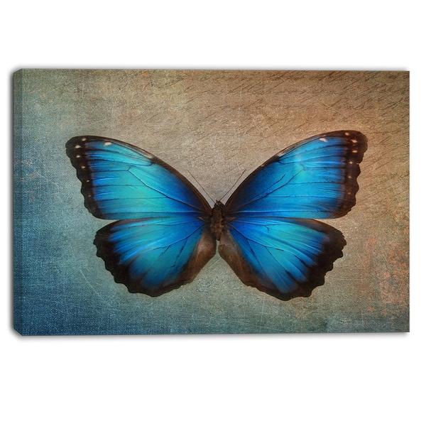 Designart - Blue Vintage Butterfly - Floral Canvas Art Print