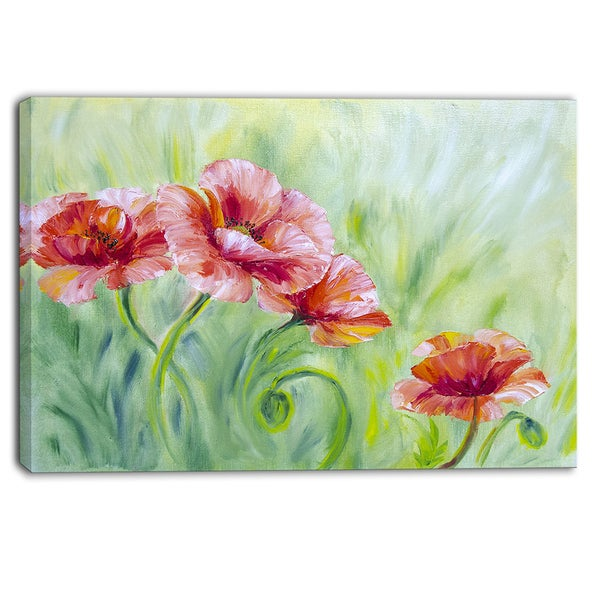 Designart - Pale Red Poppies - Floral Canvas Art Print