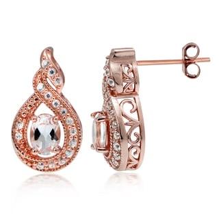 Glitzy Rocks 18k Rose Gold over Silver Morganite and White Topaz Twirl Earrings