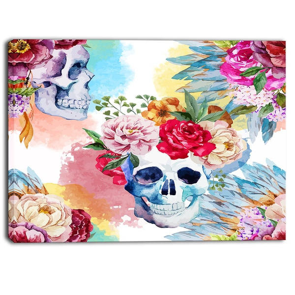 Designart - Ethnic Skull with Flowers - Floral Canvas Art Print