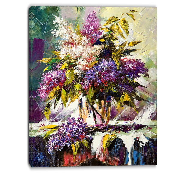Designart - Lilac Bouquet in a Vase - Floral Canvas Art Print