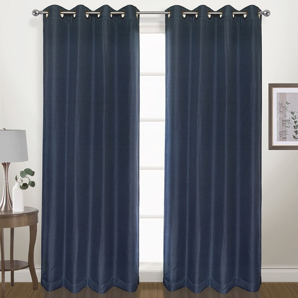 Herringbone Woven Grommet Blackout Curtain Panel