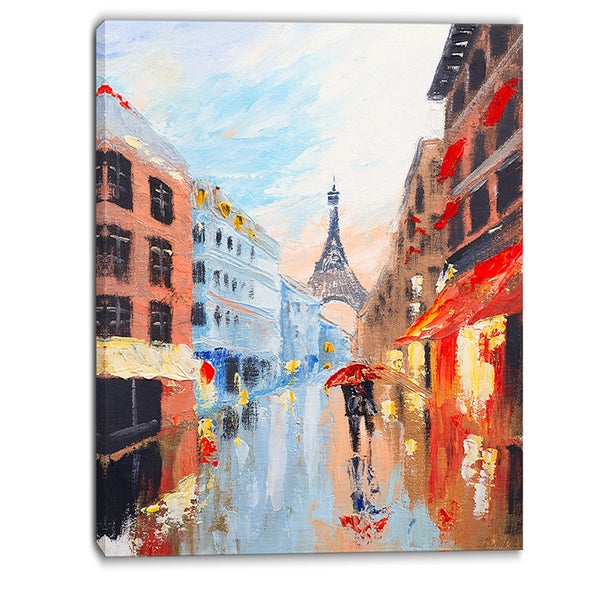 Designart - Couple Walking in Paris - Romance Canvas Art Print